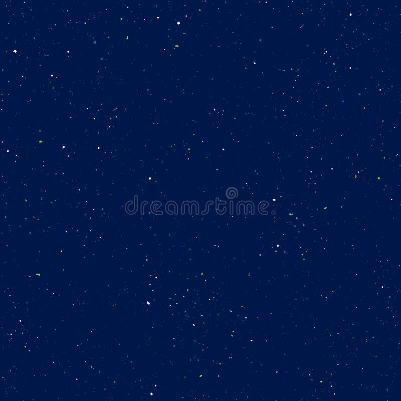 Modelo inconsútil estrellado, universo salpicado del drenaje de la mano y modelo repetible de la galaxia Puntos, pintura de espra stock de ilustración
