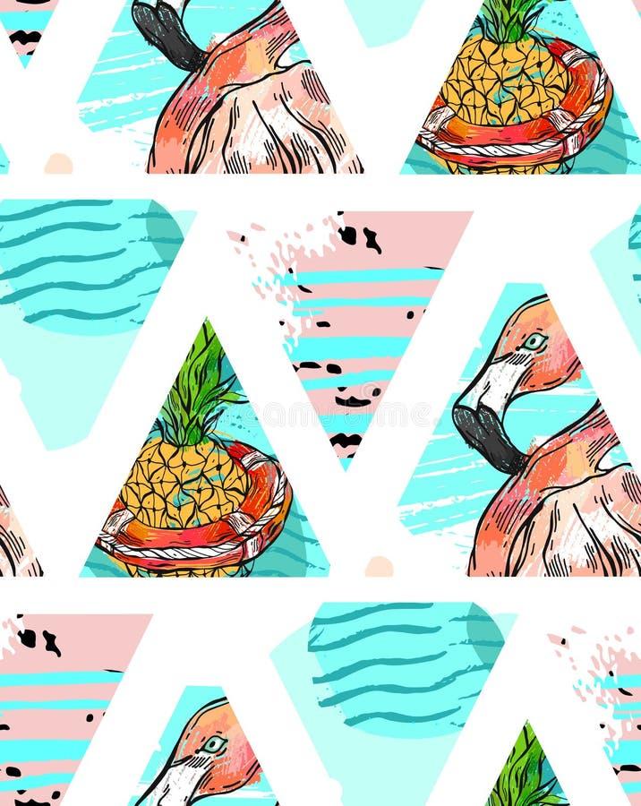 Modelo inconsútil exótico hecho a mano con las hojas tropicales, la piña y el flamenco rosado en geométrico abstracto aislados en libre illustration