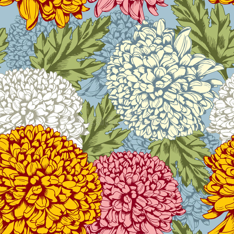 Modelo inconsútil excelente con el crisantemo stock de ilustración
