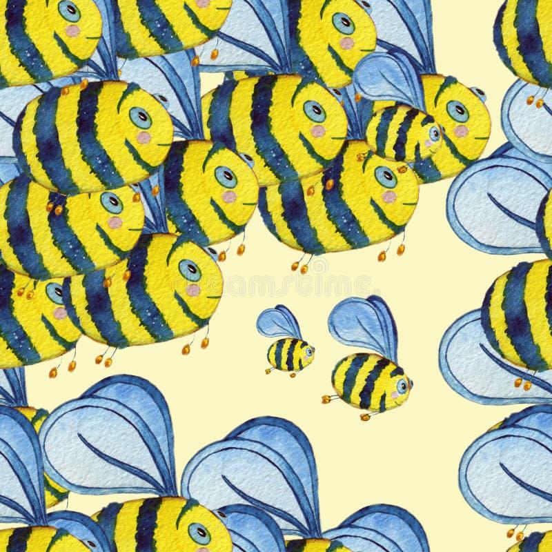 Modelo inconsútil exhausto de la mano de la acuarela con las abejas del vuelo ilustración del vector
