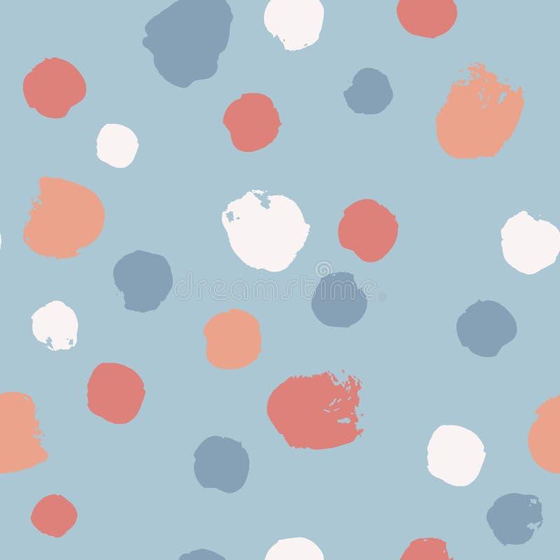 Modelo inconsútil exhausto de la mano con los círculos de la pintura Fondo abstracto del cepillo Ejemplo del vector del Grunge ilustración del vector