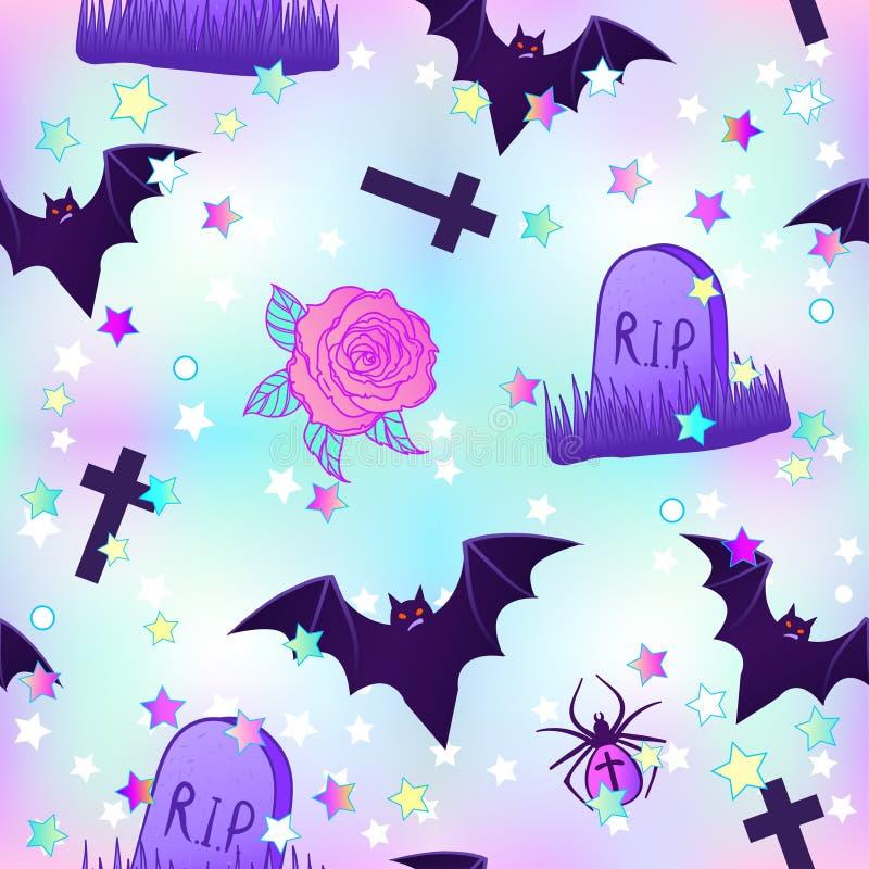 Modelo inconsútil fantasmagórico divertido de Kawaii Papel de embalaje de Halloween b libre illustration