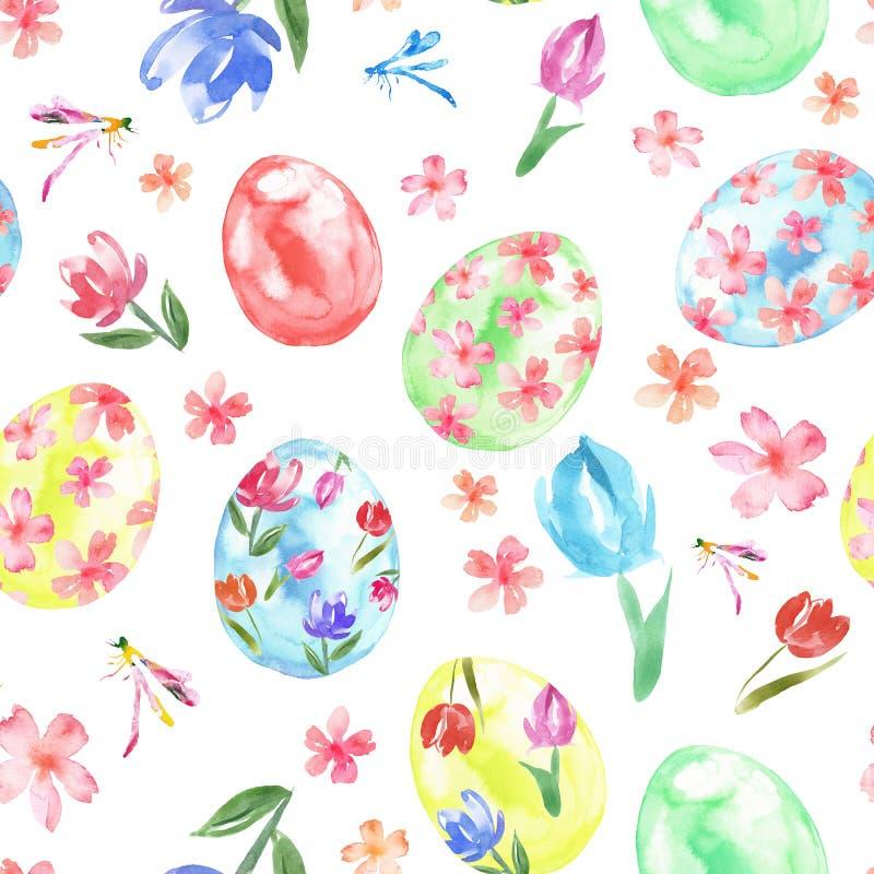 Modelo inconsútil feliz de Pascua con los huevos y las flores coloreados de la primavera en el fondo blanco fotografía de archivo