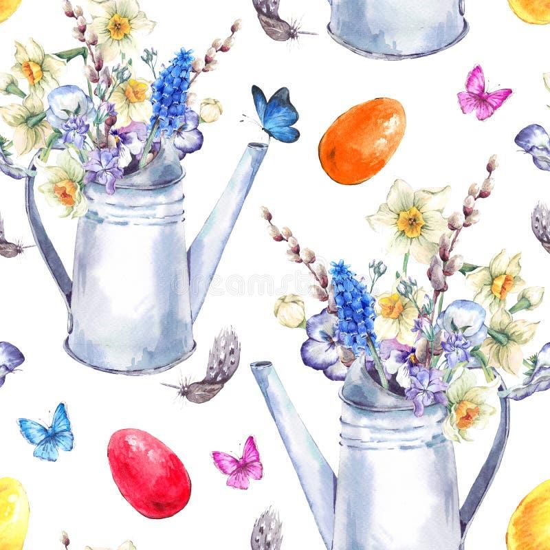 Modelo inconsútil feliz de Pascua del vintage de la acuarela stock de ilustración
