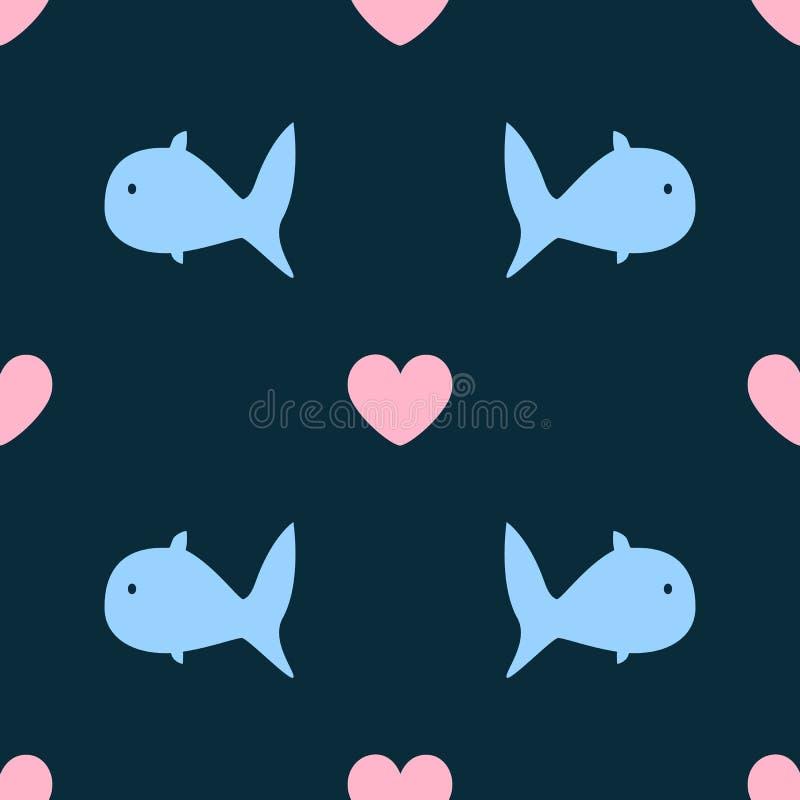Modelo inconsútil femenino con los pescados y los corazones abstractos Impresión linda simple stock de ilustración