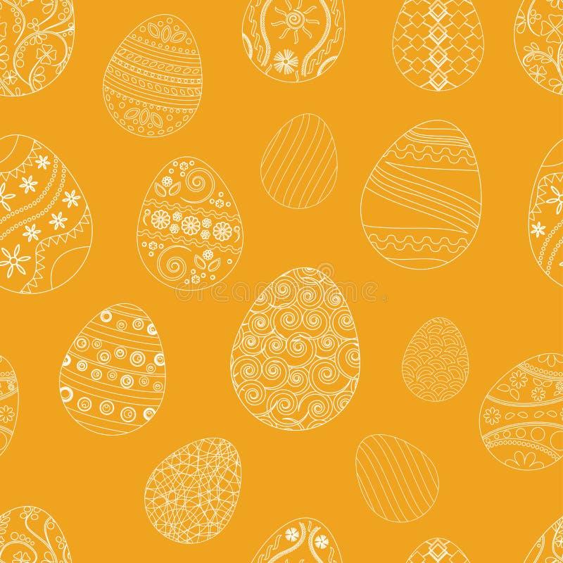 Modelo inconsútil festivo con los huevos de Pascua en fondo anaranjado Ilustración del vector ilustración del vector