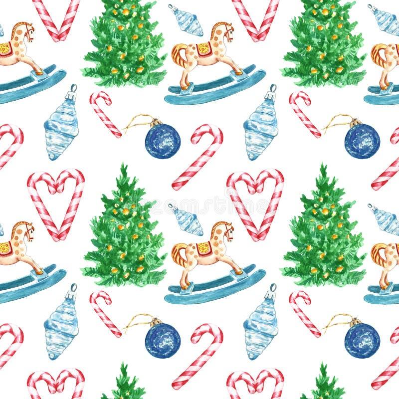 Modelo inconsútil festivo de la Navidad y del Año Nuevo en el fondo blanco con símbolos de vacaciones de invierno stock de ilustración