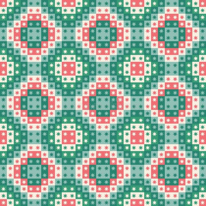 Modelo inconsútil festivo de la repetición de cuadrados y de estrellas geométricos Un diseño del vector de la Navidad en verde y  ilustración del vector