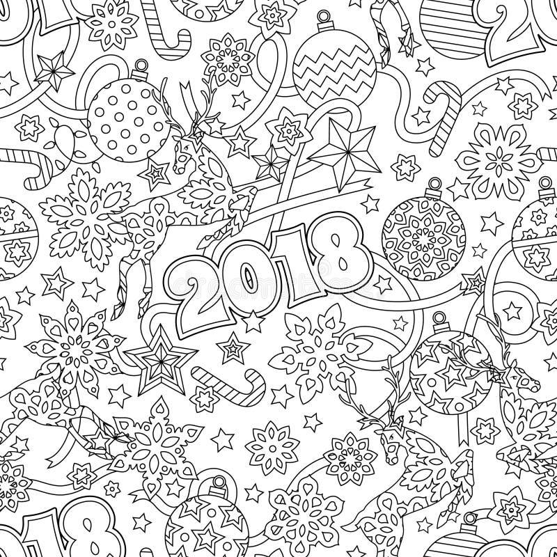 Modelo inconsútil festivo dibujado mano del esquema del Año Nuevo 2018 con los copos de nieve, las bolas de la Navidad, los cierv libre illustration