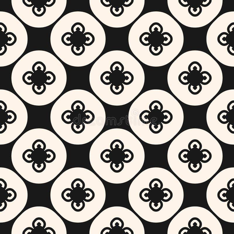 Modelo inconsútil floral abstracto blanco y negro en estilo asiático Repita el diseño para la decoración, materia textil, embaldo ilustración del vector