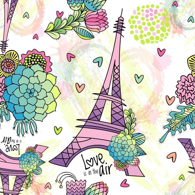 Modelo inconsútil floral abstracto con la torre Eiffel ilustración del vector