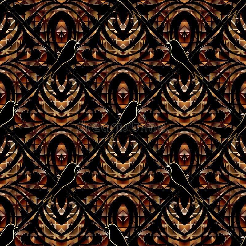 Modelo inconsútil floral abstracto moderno 3d Backgrou floral oscuro libre illustration