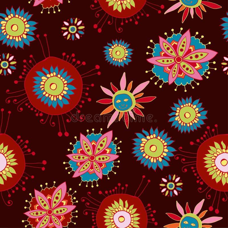 Modelo inconsútil floral adornado ilustración del vector