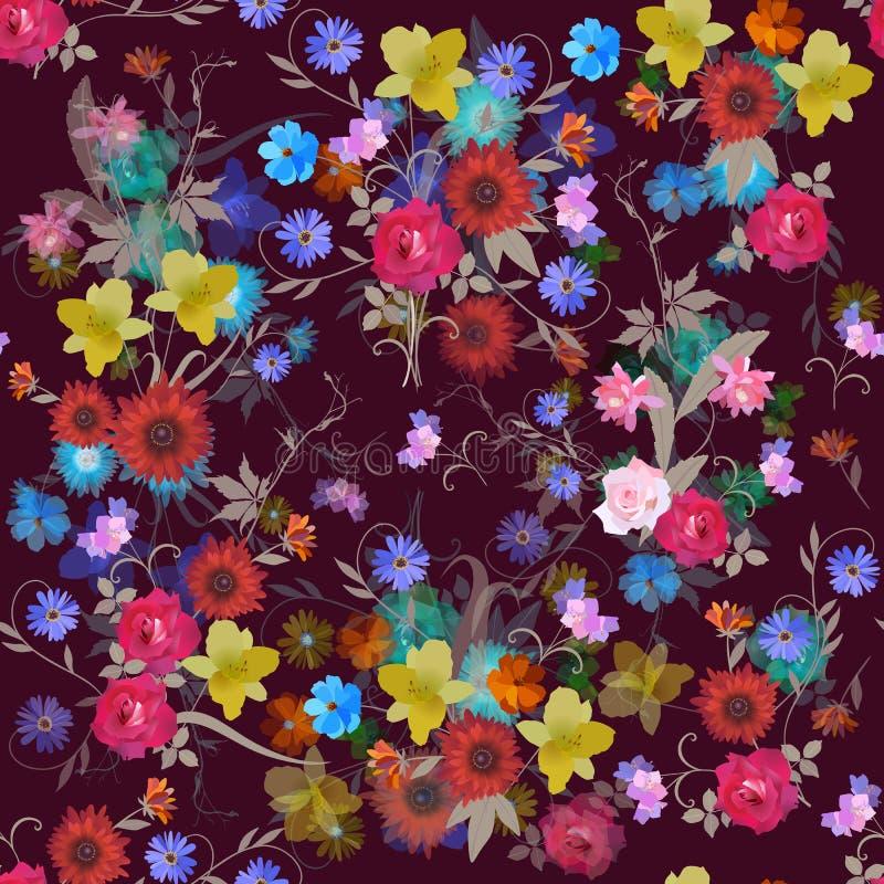 Modelo inconsútil floral adornado con las rosas, cosmos y flores de campana, lirio de día, vid virginal, margarita y cactus ilustración del vector