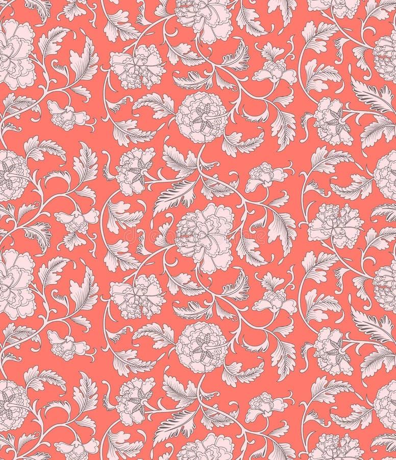 Modelo inconsútil floral antiguo del color coralino hermoso ornamental con las peonías Textura asiática para imprimir en el empaq libre illustration