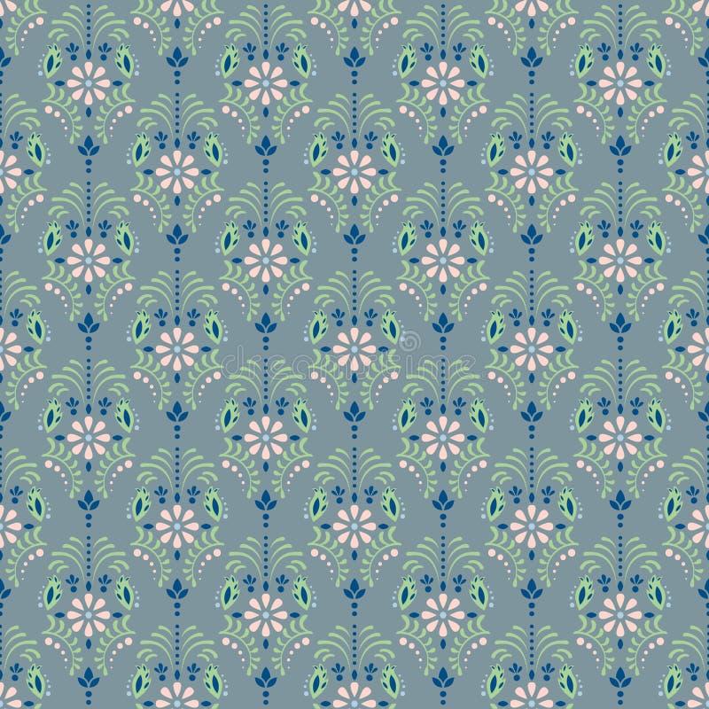 Modelo inconsútil floral azul polvoriento del vector del damasco stock de ilustración