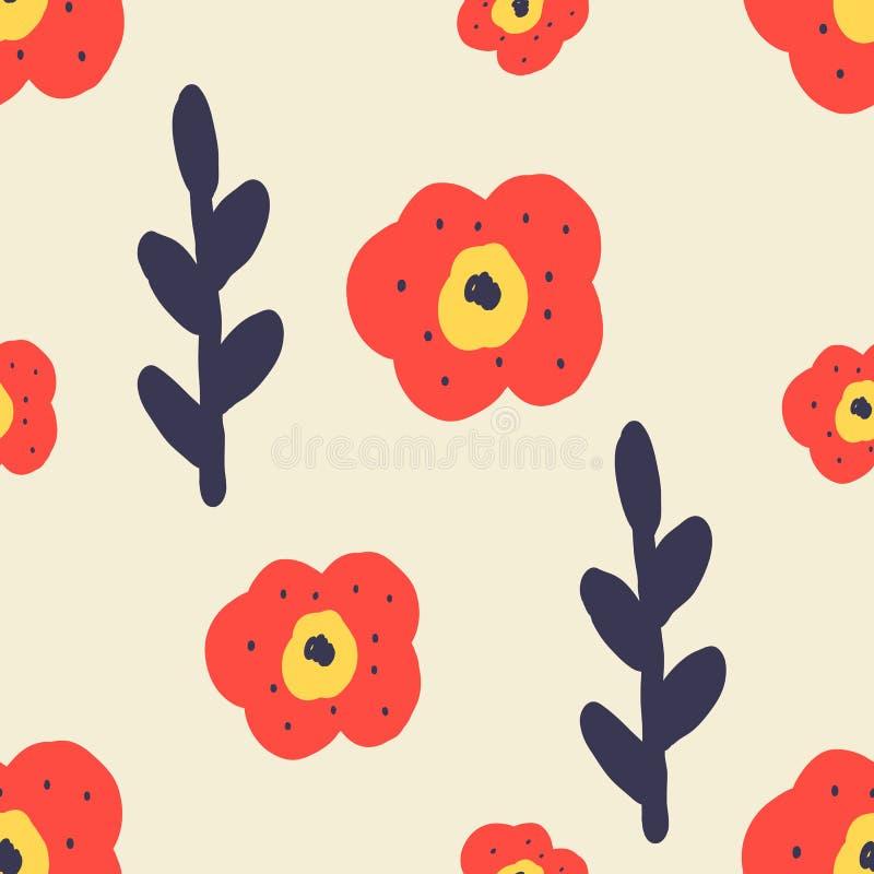 Modelo inconsútil floral Bandera de las flores Background stock de ilustración