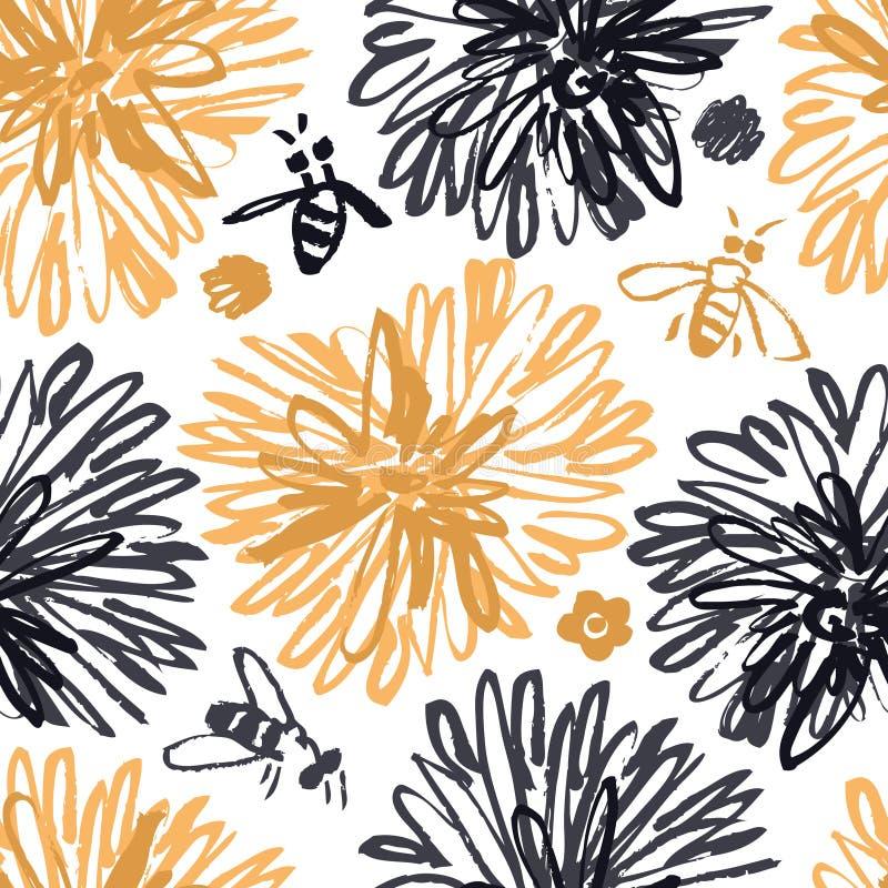 Modelo inconsútil floral bosquejado con las abejas libre illustration