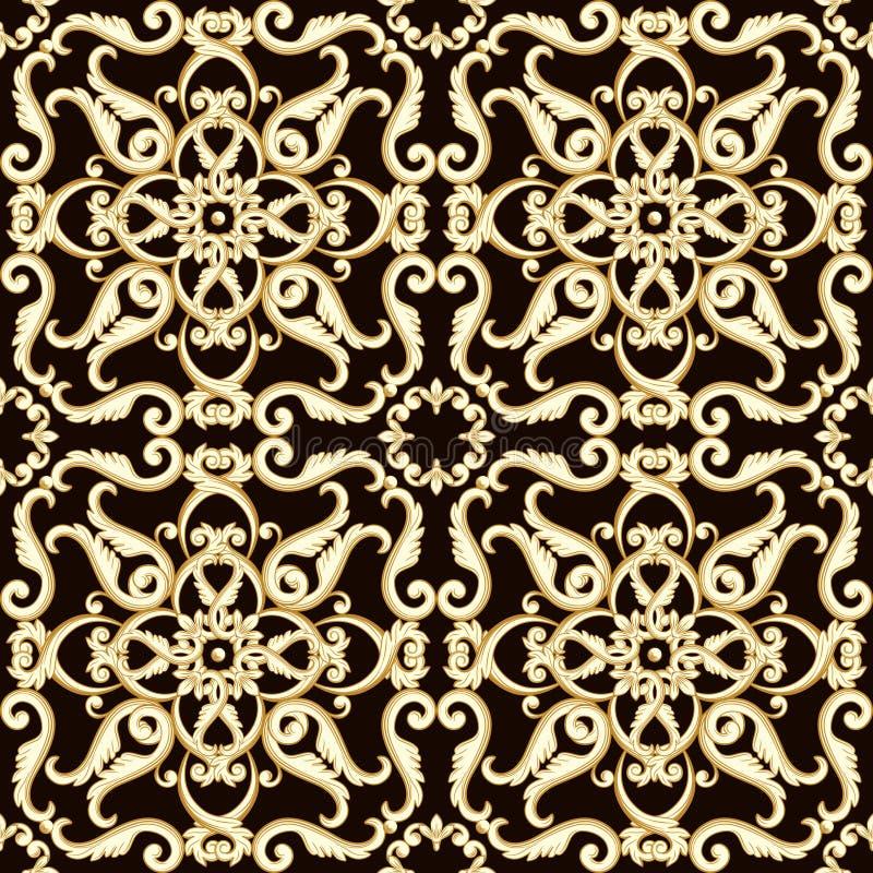 Modelo inconsútil floral brillante abstracto en color marrón stock de ilustración
