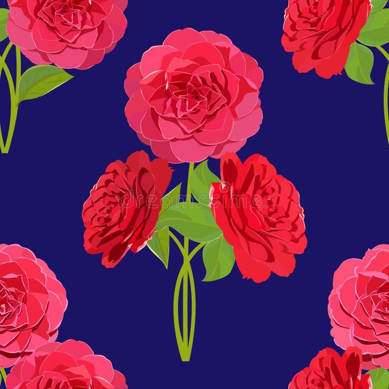 Modelo inconsútil floral brillante de los ramos de la camelia en fondo azul ilustración del vector