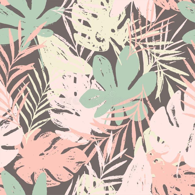 Modelo inconsútil floral brillante del verano abstracto con texturas dibujadas mano de moda ilustración del vector