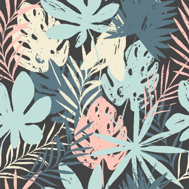 Modelo inconsútil floral brillante del verano abstracto con texturas dibujadas mano de moda stock de ilustración