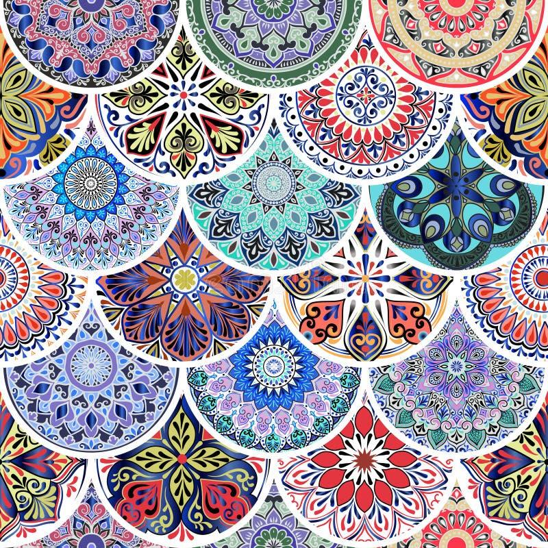 Modelo inconsútil floral colorido de círculos con la mandala en estilo de la elegancia del boho del remiendo stock de ilustración