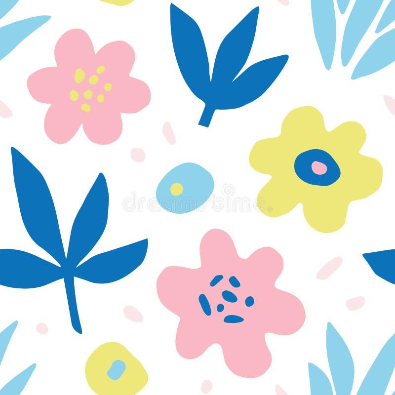 Modelo inconsútil floral colorido dibujado mano de la repetición stock de ilustración
