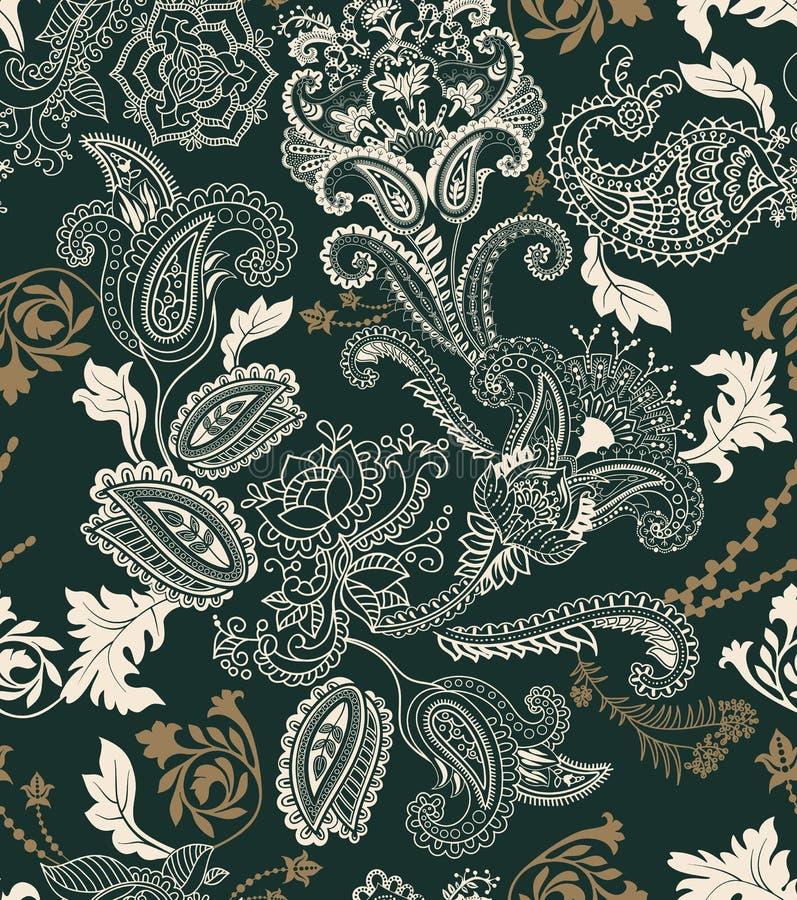 Modelo inconsútil floral colorido Ornamento de las plantas Flores y Paisley decorativas Diseño para las telas, tarjetas, web ilustración del vector