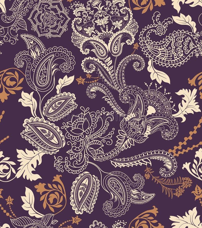 Modelo inconsútil floral colorido Ornamento de las plantas Flores y Paisley decorativas Diseño para las telas, tarjetas, web libre illustration