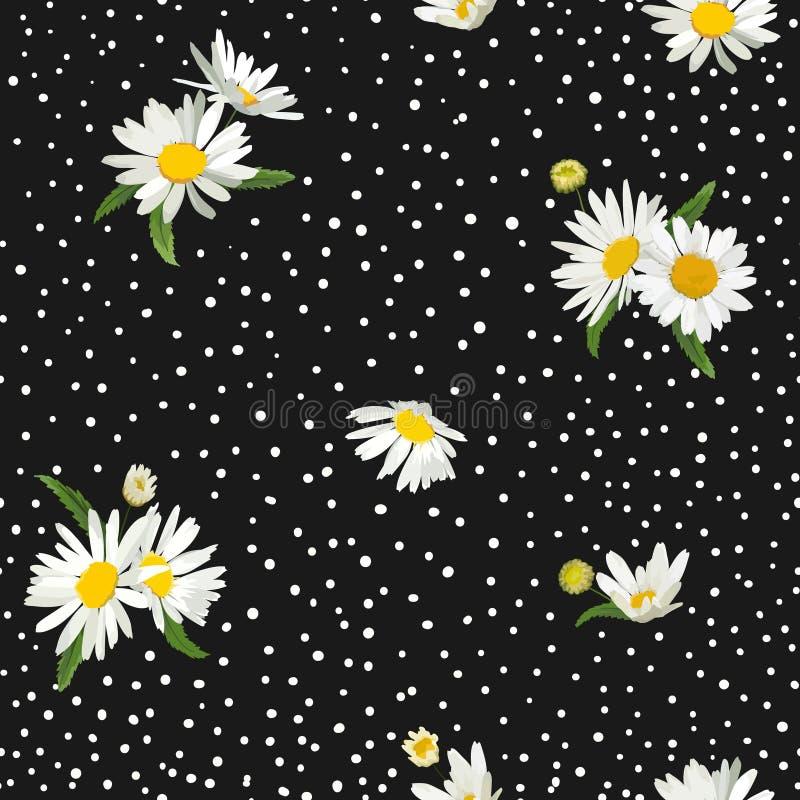 Modelo inconsútil floral con el flor Daisy Flowers Fondo con la manzanilla para la materia textil, embalaje de la primavera de la ilustración del vector