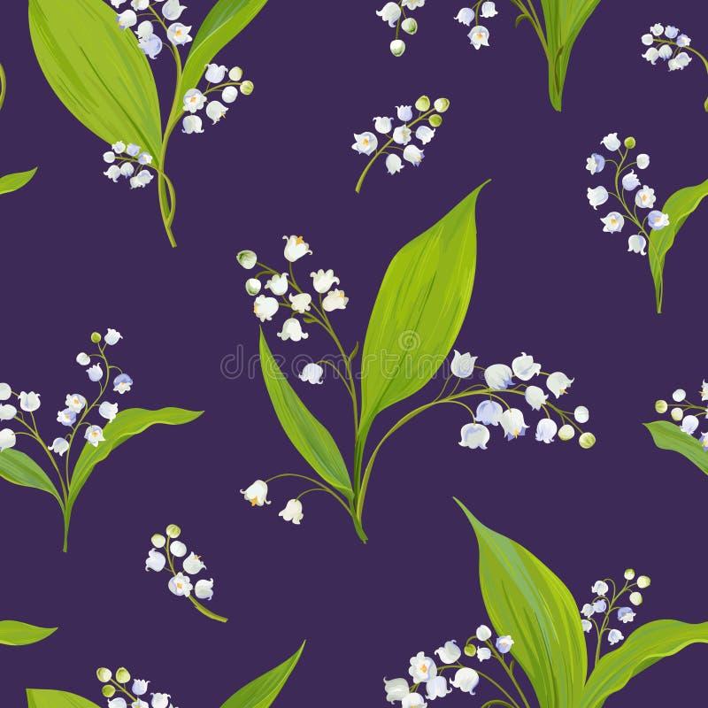 Modelo inconsútil floral con el lirio de los valles de la acuarela Fondo de la naturaleza de la primavera con las flores del flor libre illustration