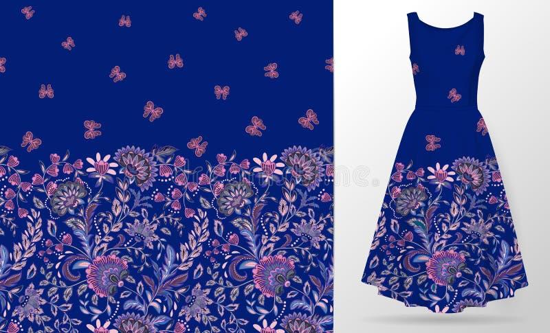 Modelo inconsútil floral con el ornamento de Paisley Ejemplo del vector en estilo asiático de la materia textil stock de ilustración