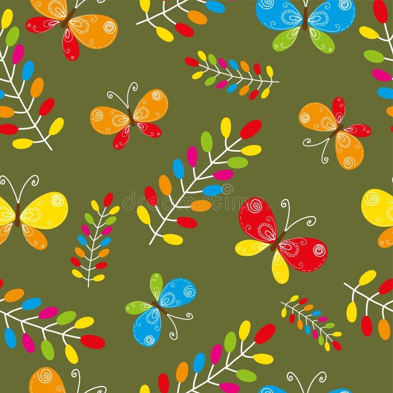 Modelo inconsútil floral con el pájaro y las mariposas ilustración del vector