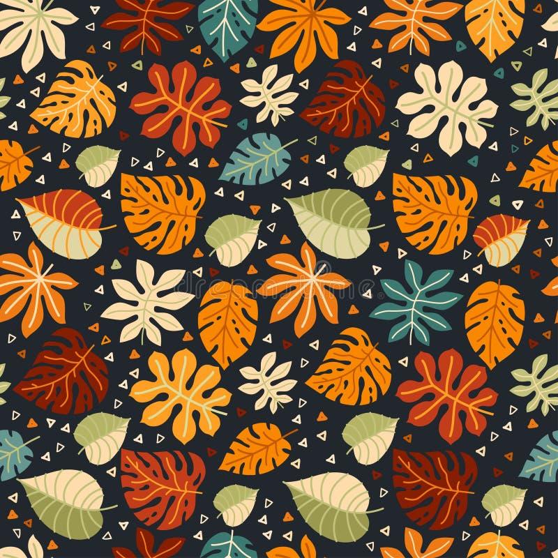 Modelo inconsútil floral con hojas caidas stock de ilustración