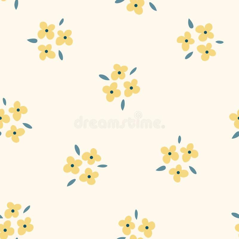Modelo inconsútil floral con las flores amarillas Fondo ligero repetido, textura suave de la materia textil Naturaleza abstracta  libre illustration