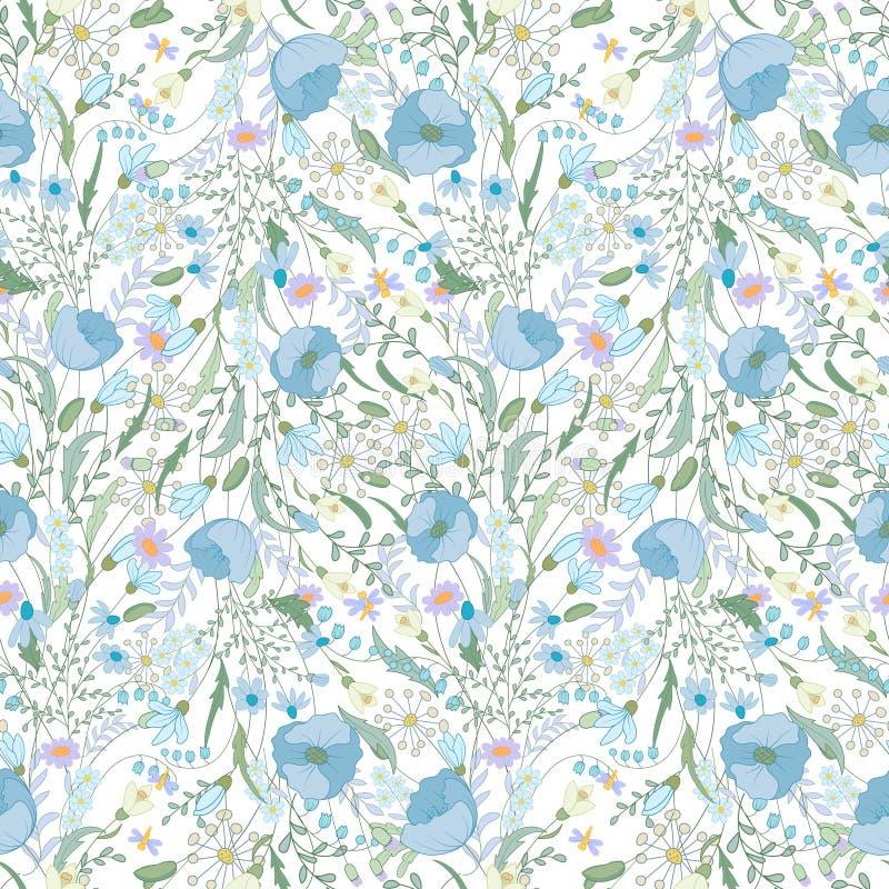 Modelo inconsútil floral con las flores de la primavera Textura sin fin para el diseño romántico, decoración, tarjetas de felicit ilustración del vector