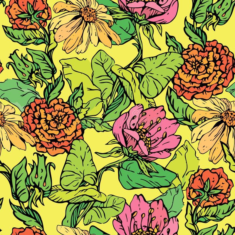 Modelo inconsútil floral con las flores drenadas mano stock de ilustración