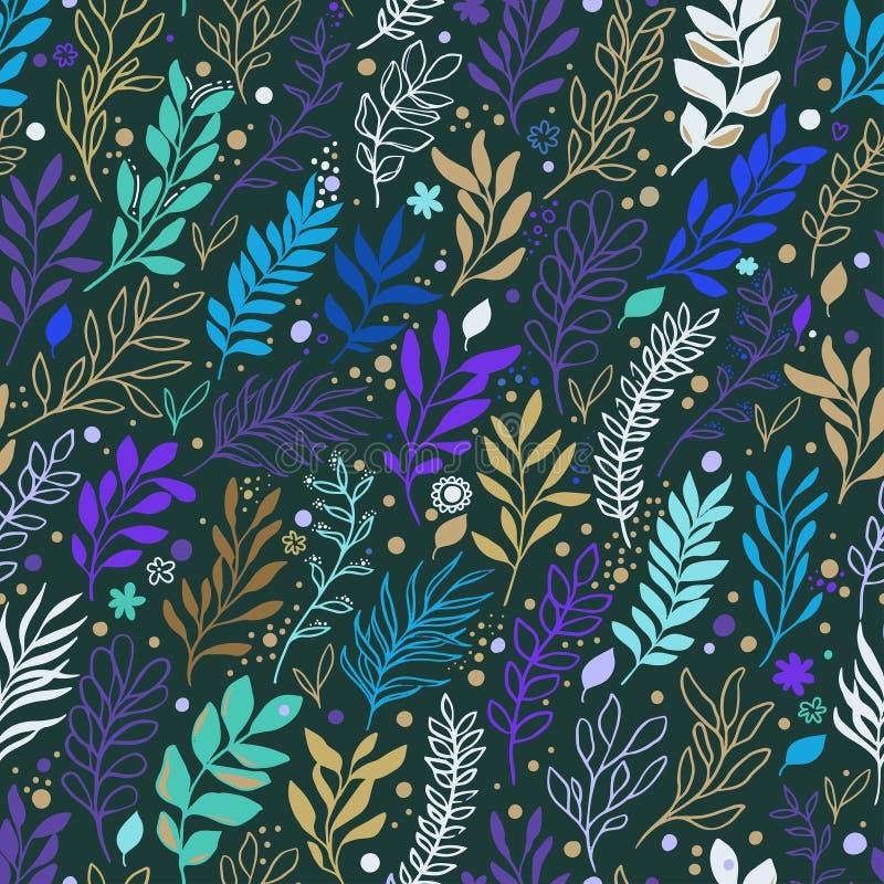 Modelo inconsútil floral con las flores, las hojas y la rama stock de ilustración