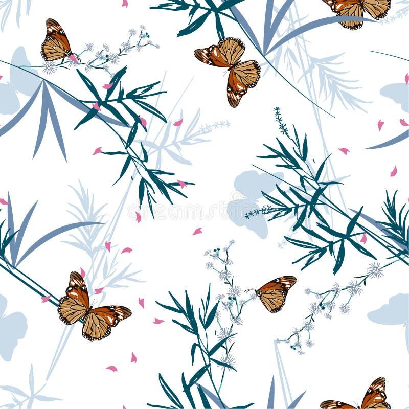 Modelo inconsútil floral con las mariposas orientales en el jardín de bambú Ilustración drenada mano del vector Diseño para la mo stock de ilustración
