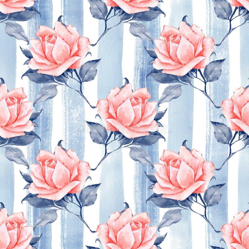 Modelo inconsútil floral con las rosas 10 ilustración del vector