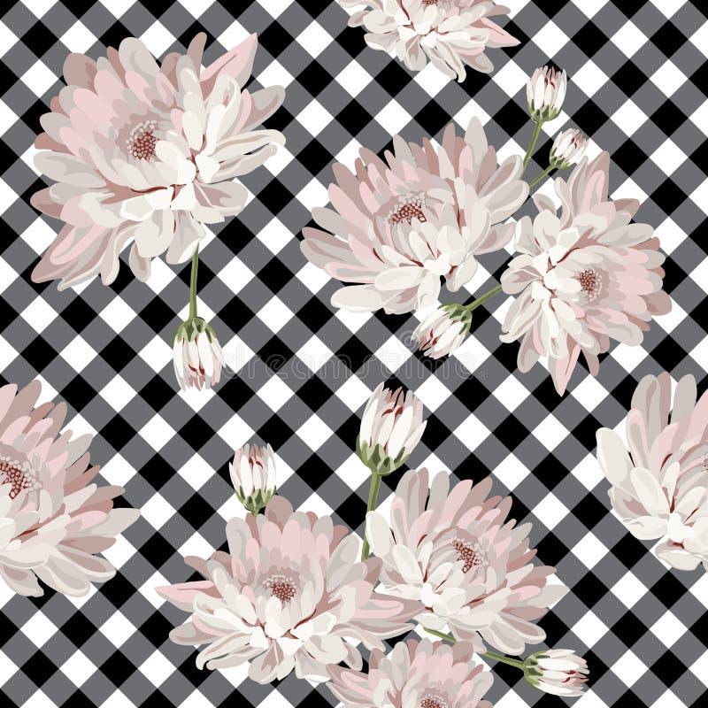 Modelo inconsútil floral con los crisantemos en la guinga, fondo comprobado libre illustration