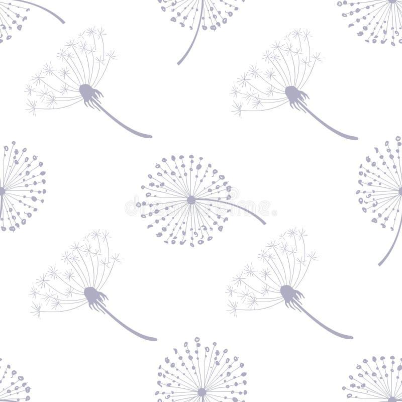 Modelo inconsútil floral con los dientes de león, semillas del diente de león que vuelan en el ejemplo del vector del viento ilustración del vector