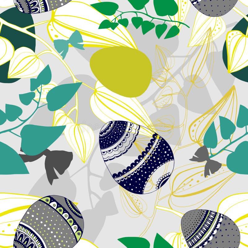 Modelo inconsútil floral con los huevos, y flores estilizadas Textura sin fin para el diseño de la primavera, decoración, tarjeta ilustración del vector