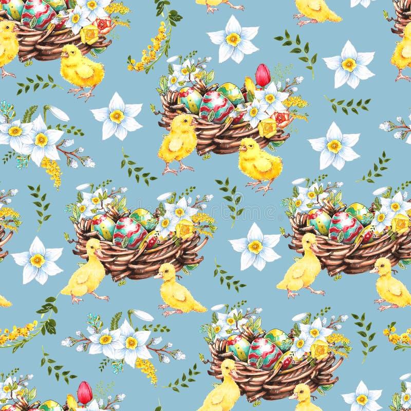 Modelo inconsútil floral con los huevos y las flores estilizadas Textura sin fin para el diseño de la primavera, decoración, tarj ilustración del vector