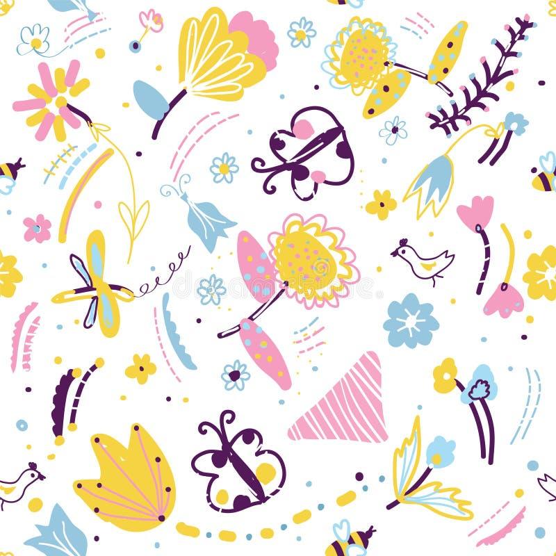Modelo inconsútil floral con los insectos y los pájaros libre illustration