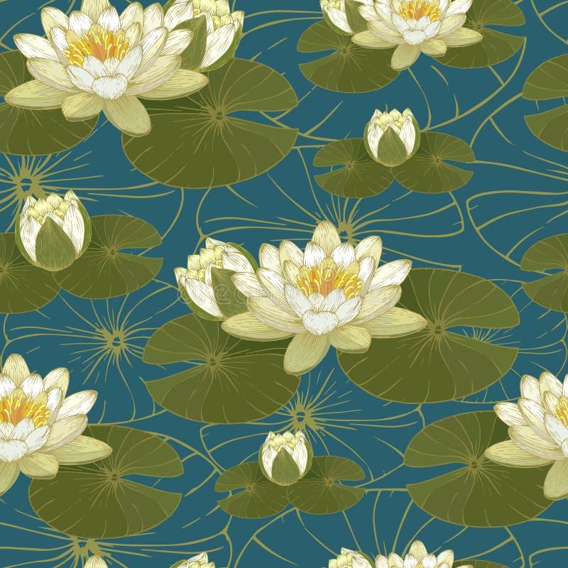 Modelo inconsútil floral con los lirios de agua ilustración del vector