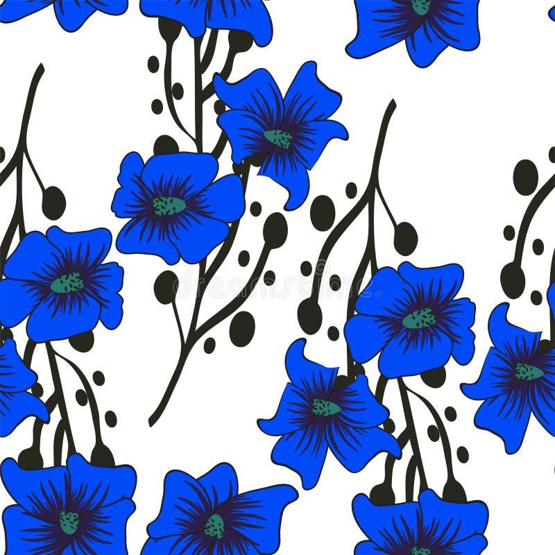 Modelo inconsútil floral Dé las flores abstractas exhaustas de la pendiente con la decoración del garabato Diseño artístico color stock de ilustración