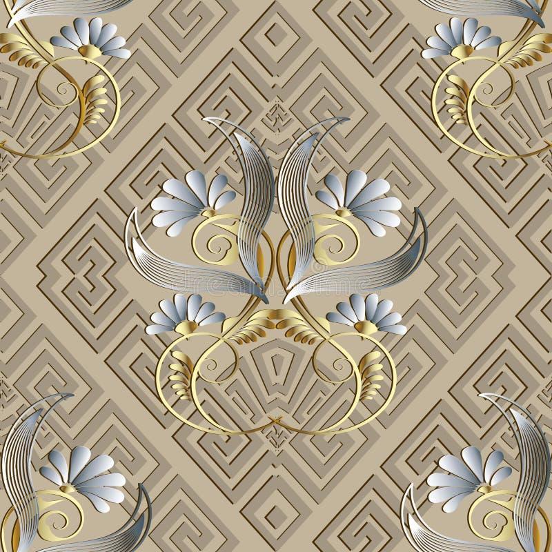 Modelo inconsútil floral 3d del vintage griego ABS beige ligero del vector ilustración del vector