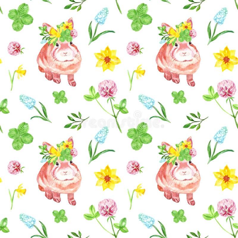 Modelo inconsútil floral de la acuarela con el conejito lindo del bebé En el fondo blanco Las flores de la primavera y del vera stock de ilustración